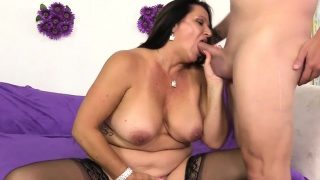 Older Dame Leylani Cock Enjoys Youthful Man Meat
